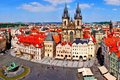 Old town square view prague aerial over czech republic Stock Image