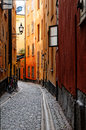 Old town of stockholm a narrow alley in the sweden Stock Images