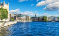 Old town in stockholm sweden scenic summer panorama of the gamla stan Stock Image