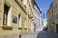 The old town street with the michaels gate in bratislava slovakia left is the university library Royalty Free Stock Photography