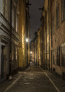 Old town street at night stockholm sweden view Royalty Free Stock Images