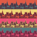 Old town with tower and fortress vector seamless pattern. Middle age fairy city endless texture.