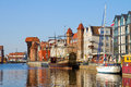 Old town waterfront over motlawa gdansk poland Royalty Free Stock Photography