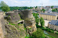 Old town and Wenzelsmauer in the City of Luxembourg Royalty Free Stock Images
