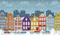 Old town in winter vector illustration of historical Royalty Free Stock Photos