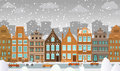 Old town in winter vector illustration of historical Royalty Free Stock Images