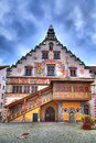 The old townhall on the island of lindau at the lake constance in south germany with georgeous ornaments Royalty Free Stock Photo