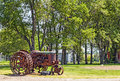 Old tractor on american countryside Royalty Free Stock Image