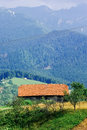 Old traditional house carpathians mountain view romanian on hill and beautiful Royalty Free Stock Photos