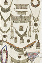 Old traditional jewelery collection set Royalty Free Stock Images