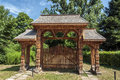 Old traditional romanian gate on a park Royalty Free Stock Photos