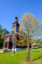 Old traditional Slovak wooden church in Stara Lubovna, Slovakia