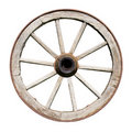 Old Traditional Wodden Wheel Isolated on White Stock Photos