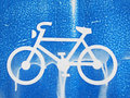 An old traffic sign bicycle sign allowed or for with running color Royalty Free Stock Photo