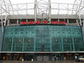 Old trafford stadium fasade of manchester football club on september in manchester england Stock Photos