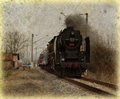 Old train аuthentic traveling to unknown destination Stock Photos