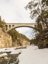 The old train bridge, Jora bridge, crossing the Jora river in Dombaas, Norway Royalty Free Stock Photo