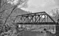 Old train bridge in snow Royalty Free Stock Photo