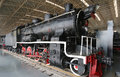 Old train locomotives trainlocomotives in museum Stock Photo