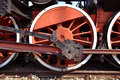 Old train red wheel detail of mechanism of Royalty Free Stock Images