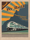Old train retro poster Royalty Free Stock Photo