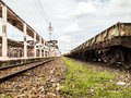 Old train station with rails Royalty Free Stock Photo