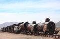 The old train at the train cemetary near Uyuni Royalty Free Stock Photo