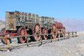 Old train and wagons at the borax museum in death valley Stock Photo