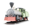 Old train  on white background. 3d rendering. Royalty Free Stock Photo