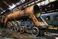 Old trains at abandoned train depot some Royalty Free Stock Photo