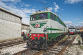 Old trains deposit in milan on march italy fai open warehouse fai fondo ambiente italiano opened warehouse for Stock Photos