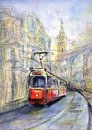Old tram hand drawn watercolor illustration of in sketch style Royalty Free Stock Photo