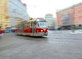 Old tram in motion blur in Prague Royalty Free Stock Photo