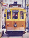 Old tram in porto passeio alegre number going along the douro river portugal Royalty Free Stock Image