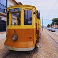 Old tram in porto passeio alegre number going along the douro river portugal Royalty Free Stock Photography