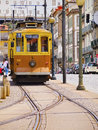 Old tram in porto passeio alegre number going along the douro river portugal Stock Image