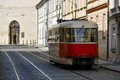 Old tram in prague the city centre of Stock Image