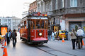 Old tram on the street Istiklal, Istanbul, Turkey Stock Photos
