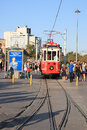 Old tram on taksim square waiting for passengers near in istanbul turkey Royalty Free Stock Image