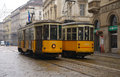 Old trams in milano italy milan january works on line milan on january the oldest still operating series of tramway had introduced Royalty Free Stock Images