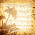Old travel letter background vintage century grunge with palms and compass Stock Photos