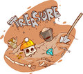 Old treasure chest buried under ground