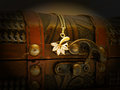 Old treasure chest detail of with gold chain dark background Royalty Free Stock Photos
