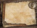Old treasure map background with compass and ruler Royalty Free Stock Photo