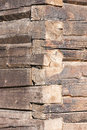 Old tree trunk wall closeup of an timber made of large trunks Stock Photo