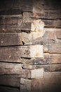 Old tree trunk wall closeup of an timber made of large trunks Royalty Free Stock Photo
