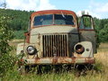 Old truck rusty polish standing on the meadow Royalty Free Stock Photography