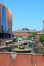 Old turn juction birmingham view along the canal at junction with the national indoor arena to the left hand side england uk Royalty Free Stock Images
