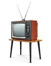 Old tv creative abstract communication media and television business concept retro color wooden home receiver set with antenna on Royalty Free Stock Image