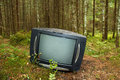 Old tv in the forest discarded television set Stock Photo